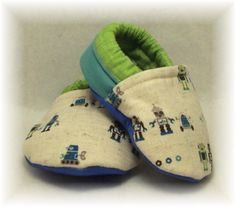 Baby Crib Shoes - Robot Color Block Booties. $18.00, via Etsy.