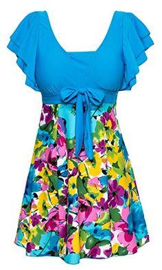 930f0d37251 Wantdo Women's Large Bust Swimwear Swimsuit Plus Size Swim Costumes  Swimdress at Amazon Women's Clothing store: