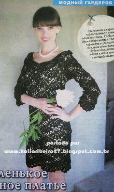 Katia Ribeiro Acessórios: Vestido em crochê com gráfico