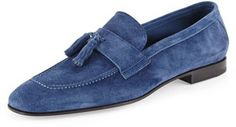 $695, Giorgio Armani Suede Tassel Loafer Royal Blue. Sold by Neiman Marcus. Click for more info: https://lookastic.com/men/shop_items/18681/redirect