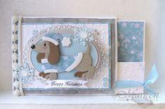 Vandaag ben ik in Gerda's Hobbyshop  voor het verzorgen van een demo ter ere van hun 10 jarig bestaan. Een van de kaarten die ik bij me heb ... Dog Cards, Kids Cards, Spellbinders Cards, Stampin Up Cards, Pop Up Cards, Cute Cards, Christmas Gift Tags, Handmade Christmas, Xmas Cards To Make