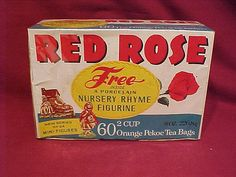 9 Surprising Facts About Red Rose Tea Figurines Retro Recipes, Vintage Recipes, Sweet Memories, My Childhood Memories, Orange Pekoe Tea, Red Rose Tea, Tea Box, Vintage Toys, Vintage Stuff