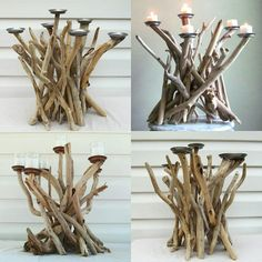 Driftwood candelabra each so unique and beautiful! www.driftingconcepts.com