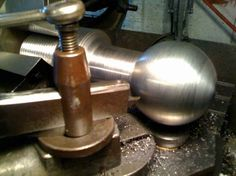 """Ball Turner for Metal Lathe by aametalmaster -- The plans said that it would turn a 3"""" steel ball so i had to try it. Yup and i can go bigger than that. Works great for a radius cutter also. I made it on my SBL from common steel parts i had laying around. If anyone needs the plans just..."""