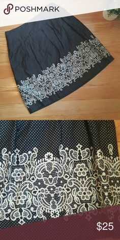 $10 Sale Ann Taylor Loft Petites Skirt FINAL PRICE UNLESS BUNDLED Cute knee length skirt with polka dots and lace print detail. Fully lined. Hidden side zipper. From the Loft petite collection. Excellent pre-loved condition. LOFT Skirts