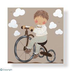 SELECCÓN DE LOS MEJORES CUADROS INFANTILES PINTADOS A MANO: personalizables con el nombre o detalles, ideales para decorar habitaciones de bebés y niños. Tricycle, Nursery Art, Ideas Para, Decoration, Quilts, Sewing, Kids, Handmade, Vintage