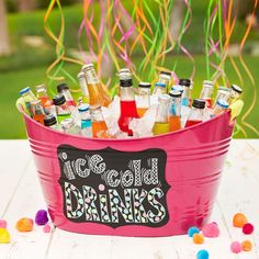 Use spray paint to match your decor and add a label to make this festive Ice Cold Drink Tub for your next party or celebration