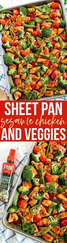 This Sheet Pan Sesame Chicken and Veggies makes the perfect weeknight dinner. It's healthy, delicious and easily made, all on one pan in under 30 minutes! #AD