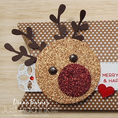 handmade Christmas reindeer gift pillow box using Stampin Up kraft pillow boxes and punch art reindeer made with Stampin Up circle punches & sprig punch. Made by Di Barnes - independent Demonstrator in Sydney Australia - colourmehappy - sydneystamper Christmas Card Crafts, Homemade Christmas Cards, Handmade Christmas Gifts, Christmas Paper, Holiday Cards, Christmas Decorations, Christmas Gift Boxes, Christmas Raindeer, Printable Christmas Ornaments