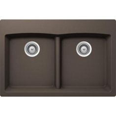 Buy Here: http://thd.co/1K2Hig1 SCHOCK EDO EDON200T063 Top Mount Composite 33 in. 0-Hole 50/50 Double Bowl Kitchen Sink in Mocha #kitchensink #kitchensinks #kitchen #sinks #schock #granitesink