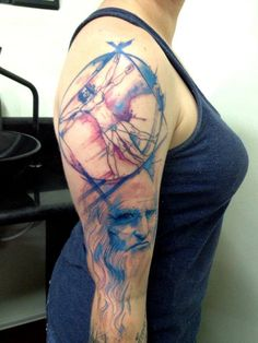 Victor Octavians gallery - Awesome Watercolor Tattoos. Love the Elephant layout and this Leonardo da Vinci sleeve.