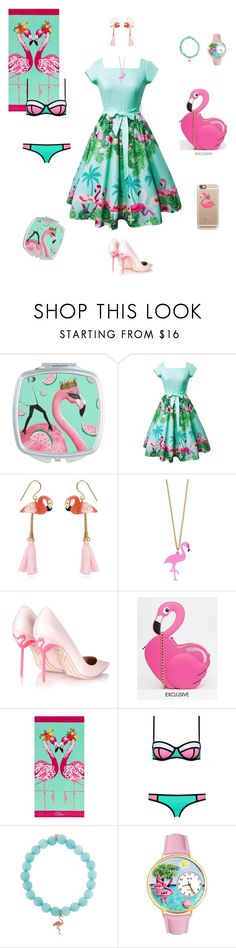 """Flamingo Contest"" by reinalena ❤ liked on Polyvore featuring Nach, Sophia Webster, Skinnydip, PBteen, Sydney Evan, Whimsical Watches and Casetify"