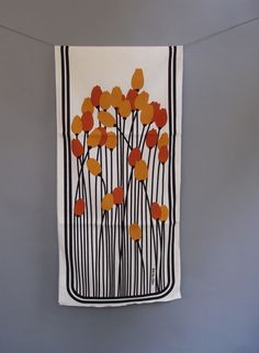 VTG Never Used MOD 60s BOB VAN Allen Autumn Tulip Table Runner OR Wall Hanging | eBay