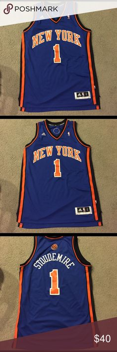 Amar'e Stoudemire New York Knicks jersey This is an authentic, home Knicks jersey. The jersey is stitched and is a size large. This jersey is in extremely good condition. Only wore a few times and has no stains, holes, or loose threads. Adidas Other