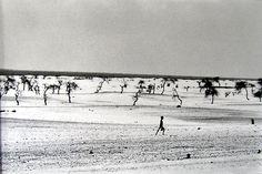 This used to be the large Lake Faguibine. It dried up little by little with the drought and invasion of the desert. All the men have gone, only the children, the elderly and women remain, Mali 1985 gelatin silver print