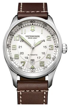 Victorinox Swiss Army® 'Airboss' Automatic Leather Strap Watch
