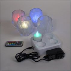 Set of 4 White Frosted/Clear diamond cut glass candle holders and Set of 4 remote control RGB LED rechargeable tea lights with induction charging base Party Lights, Tea Lights, Color Changing Led, Led Candles, Glass Candle Holders, Cut Glass, String Lights, Light Up, Color Change