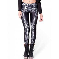 Choies Black Contrast Skeleton Print Leggings (15 CAD) ❤ liked on Polyvore featuring pants, leggings, black, x ray leggings, skeleton leggings, skeleton pants, xray leggings and legging pants