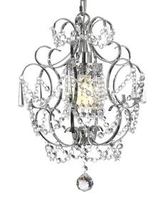 Look at this Crystal & Chrome Pendant Light Chandelier by Gallery Lighting Plug In Chandelier, Crystal Chandelier Lighting, Flower Chandelier, Crystal Lamps, Bathroom Chandelier, Bedroom Chandeliers, Chandelier Ideas, Beaded Chandelier, Crystal Flower