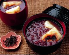 Shiruko / Zenzai (a sweet soup made from azuki beans boiled in a mixture of water and sugar, with grilled pieces of mochi rice cake)