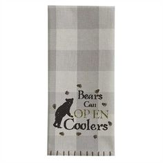 Part of the Bear Facts collection of tabletop, matching lined valance, and more! Bears Can Open Coolers Printed Kitchen Hand Towel Dishtowel from Park Designs m Lodge Look, Lodge Style, Kitchen Hand Towels, Dish Towels, Black Bear Decor, Good Ol, Pretty And Cute, Coolers, Can Opener