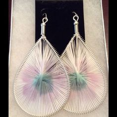Silver Tone White, Pink And Green Earrings