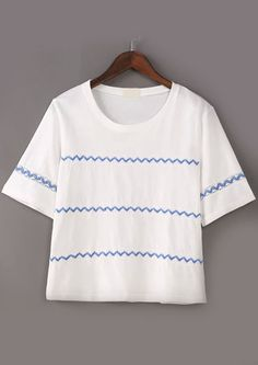 Embroidered Hollow White T-shirt 10.83