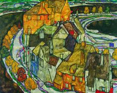 "Egon Schiele (1890 - 1918)  Crescent of Houses II (""Island Town""), 1915 © Leopold Museum, Vienna, Inv. 456"