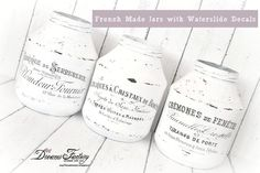 All about waterslide decal paper transfers - Home decor inspiration: Dreams Factory's top DIY projects and handmade decorations made with waterslide decals Handmade Home Decor, Handmade Decorations, Garden Decorations, Decoupage, French Images, Book Page Wreath, Painted Jars, Mason Jar Crafts, Mason Jars