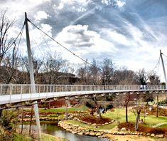 Liberty Bridge in Falls Park, Greenville, South Carolina