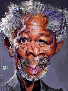 Morgan Freeman Caricature by Valentin Chibrit. Funny Face Drawings, Funny Faces, Cartoon Drawings, Cartoon Art, Horse Drawings, Caricature Artist, Caricature Drawing, Drawing Art, Funny Caricatures