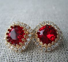 Red Siam January Birthstone - Square Swarovski Crystal Post Earrings by SarahOfSweden on Etsy