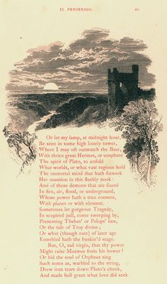 Milton's L'Allegro and Il Penseroso Written by John Milton (British, London 1608–1674 London) Sitter: John Milton (British, London 1608–1674 London) Illustrator: Myles Birket Foster (British, Northumberland 1825–1899 Braeside) Publisher: David Bogue (London) Date: 1855 Medium: Etching on steel Dimensions: Overall: 10 7/8 x 7 5/16 x 3/4 in. (27.6 x 18.6 x 1.9 cm)