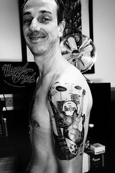 The Beatles tattoo (the owner)