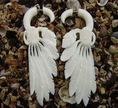 Fake gauge earrings Natural White Bone wing by ANELAJADE, $23.99