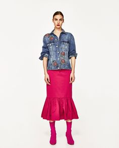 ZARA - WOMAN - DENIM JACKET WITH EMBROIDERED ROSES