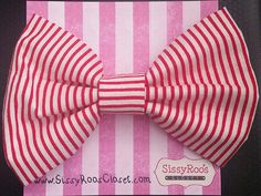 Christmas Hair Bows - Candy Cane Fabric Tuxedo Hair Bow on French Barrette. by SissyRoosCloset on Etsy