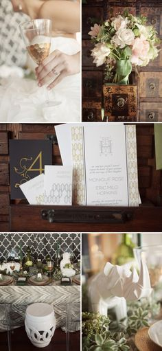 Caribbean themed wedding with deep wood, white accents, and modern touches