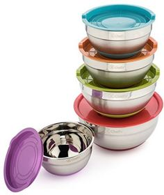 Cheffy Stainless Steel Mixing Bowls With Lids And Grater Attachments, Set Of 5…
