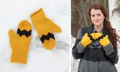 Winter Mittens with a Charlie Brown Look.