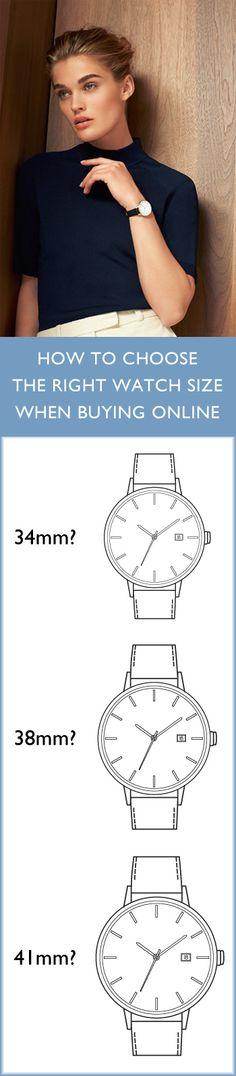 Still haven't found the perfect size for your wrist? Here's what we suggest for Linjer watches for women | 34mm: feminine and elegantly proportioned, for women with small and medium wrists | 38mm: perfect for women with larger wrists | 41mm: for women who want an oversized watch face | Our watches come in all three of these sizes.