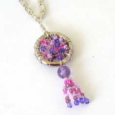 Amethyst and Glass Wire Wrapped Pendant with Silver by Pookledo, £9.00