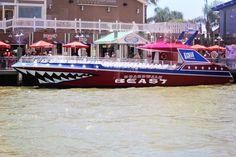 Boardwalk Beast Thriller cigarette boat in Kemah, Texas.
