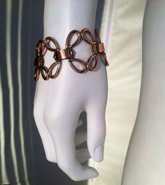 Vintage early 1950s signed Matisse double bow flower copper link bracelet via Etsy