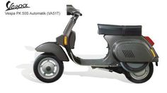 Vespa PK 50, 1983 - Substantially identical to the PK 125, it appeared in two models, PK 50 and PK 50 S, both with 4-speed gearbox and electronic ignition. Vespa PK 50, 1983 - Substantially identical to the PK 125, it appeared in two models, PK 50 and PK 50 S, both with 4-speed gearbox and electronic ignition. Vespa PK 125 Automatic, 1984 - An automatic transmission was introduced on the Vespa, probably the most radical change (at least for the driver) since 1946.