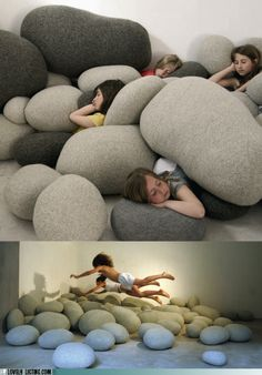 "giant ""rock"" pillows. Fun!  This might be a good idea for set design as well."