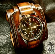 Leather+cuff+watch+Tobacco+sunburst+wide+layered+by+mataradesign,+$325.00