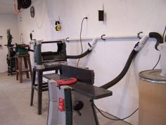 JPG - Like a lot of people, after retirement I built a woodworking shop. I looked at the commercial dust collection systems, and did not like the look of th. Garage Tools, Garage Workshop, Garage Shop, Garage Plans, Garage Storage, Wood Workshop, Lumber Storage, Workshop Storage, Woodworking Workshop