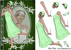 1920 s Flapper Fashion Reflections Decoupage on Craftsuprint designed by Sue Way - A stylish card front in shades of green, with a lady in a 1920's style flapper dress with a cloche hat. She has her reflection in cameo. Includes step by step layers to give your card depth. Perfect for ladies of any age. - Now available for download!