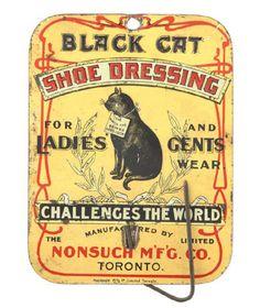 Vintage embossed tin litho advertising billhook for Nonsuch Mfg. Co.'s Black Cat Shoe Dressing